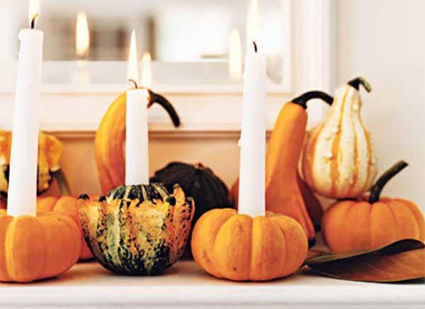 Nature Home Decor Pumpkin with Candles Halloween