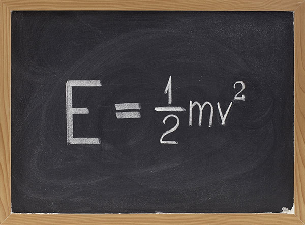 Kinetic Energy Affects | Factors and Equations - formula on chalkboard