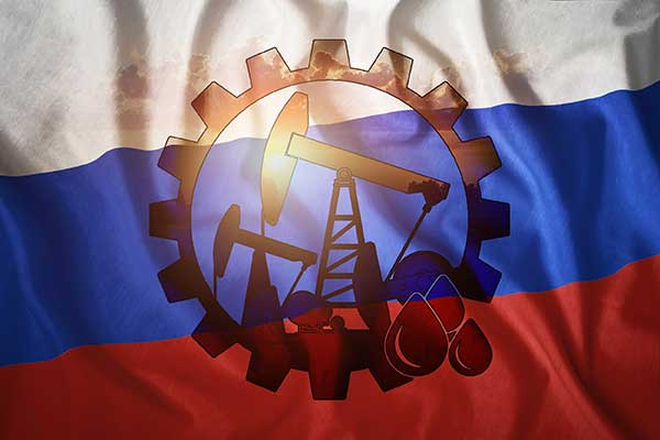 Russia Fuel Reserves | Flag with drilling logo