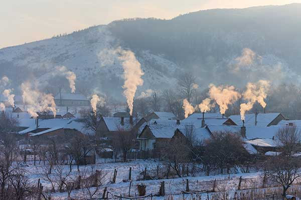 What uses Gas in a House - Smoke and heat Winter houses image