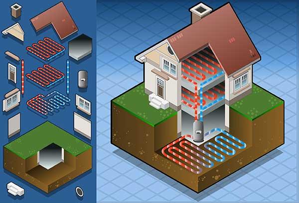 Geothermal Heat Pumps inside Home Illustration