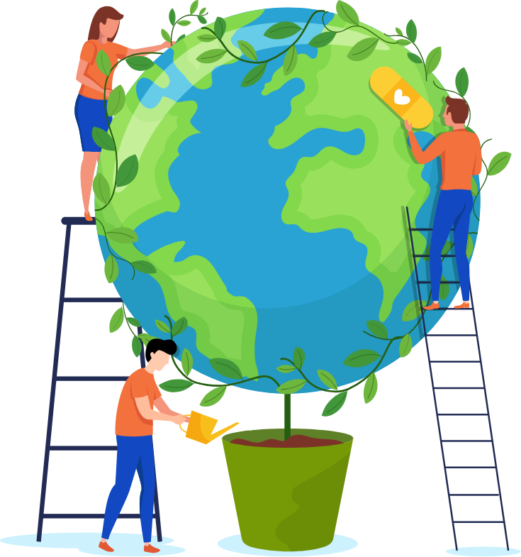 illustration of 3 people taking care of earth